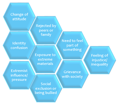 Factors which may make someone vulnerable to radicalisation