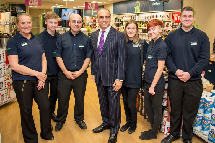 Theo Paphitis with Robert Dyas employees